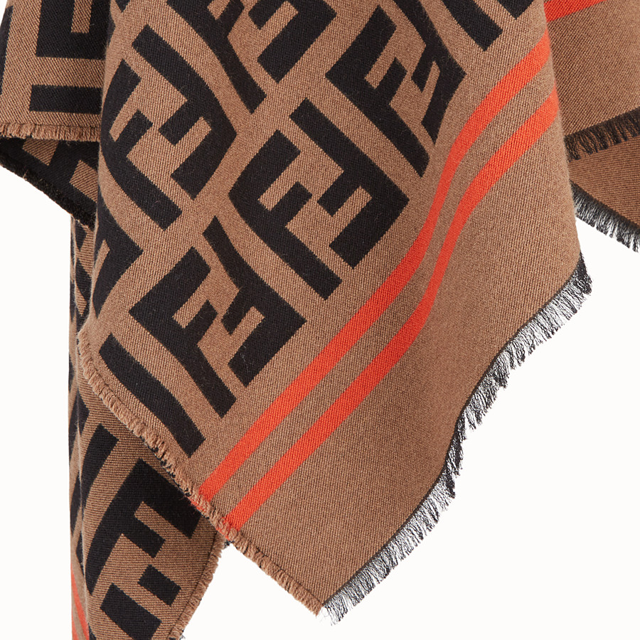 FENDI FF PONCHO - Multicolour wool and silk poncho - view 3 detail