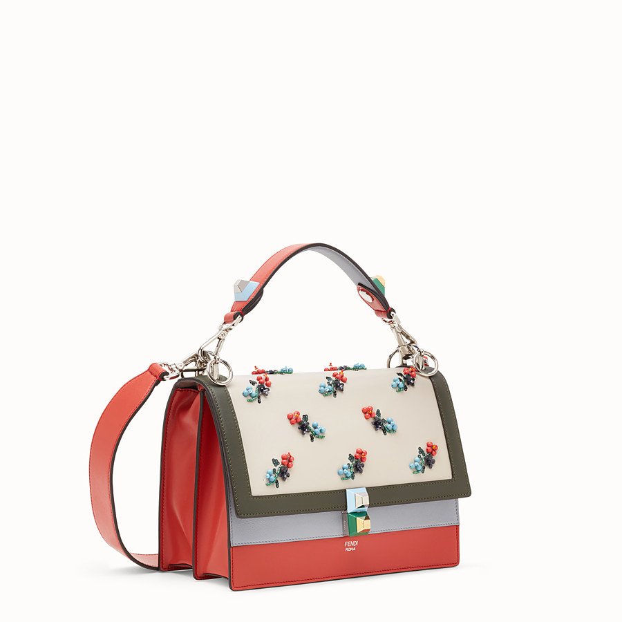 FENDI KAN I - Bag in red leather with embroidery - view 2 detail