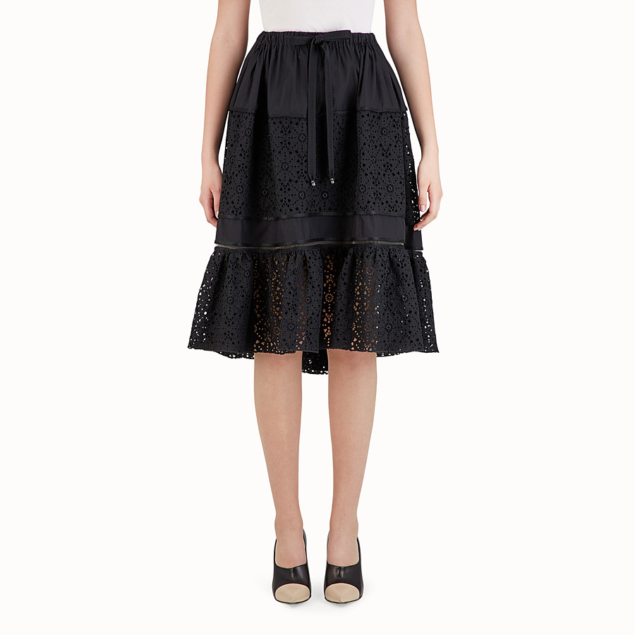 FENDI MIDI SKIRT - Black cotton skirt - view 1 detail