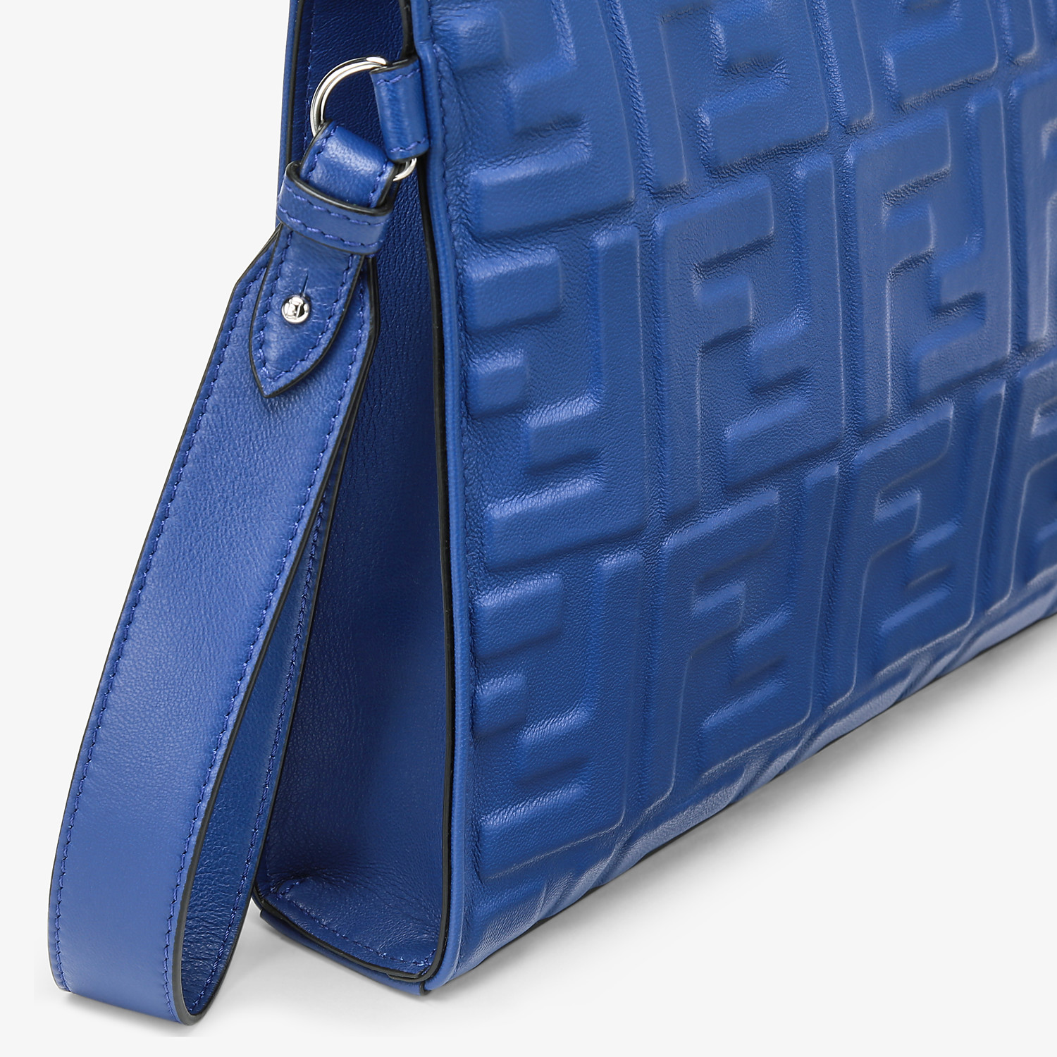 FENDI FLAT POUCH - Blue nappa leather pouch - view 5 detail