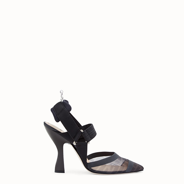 FENDI SLINGBACKS - Colibrì in mesh and black leather - view 1 small thumbnail
