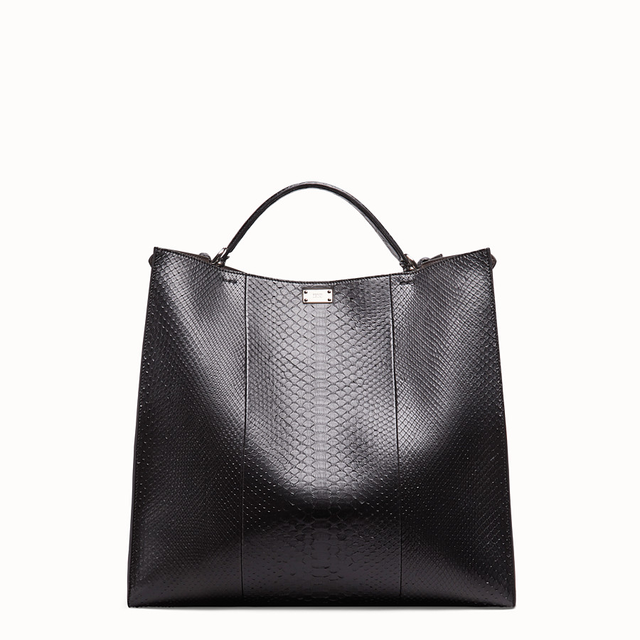 FENDI PEEKABOO X-LITE REGULAR - Black python leather bag - view 4 detail