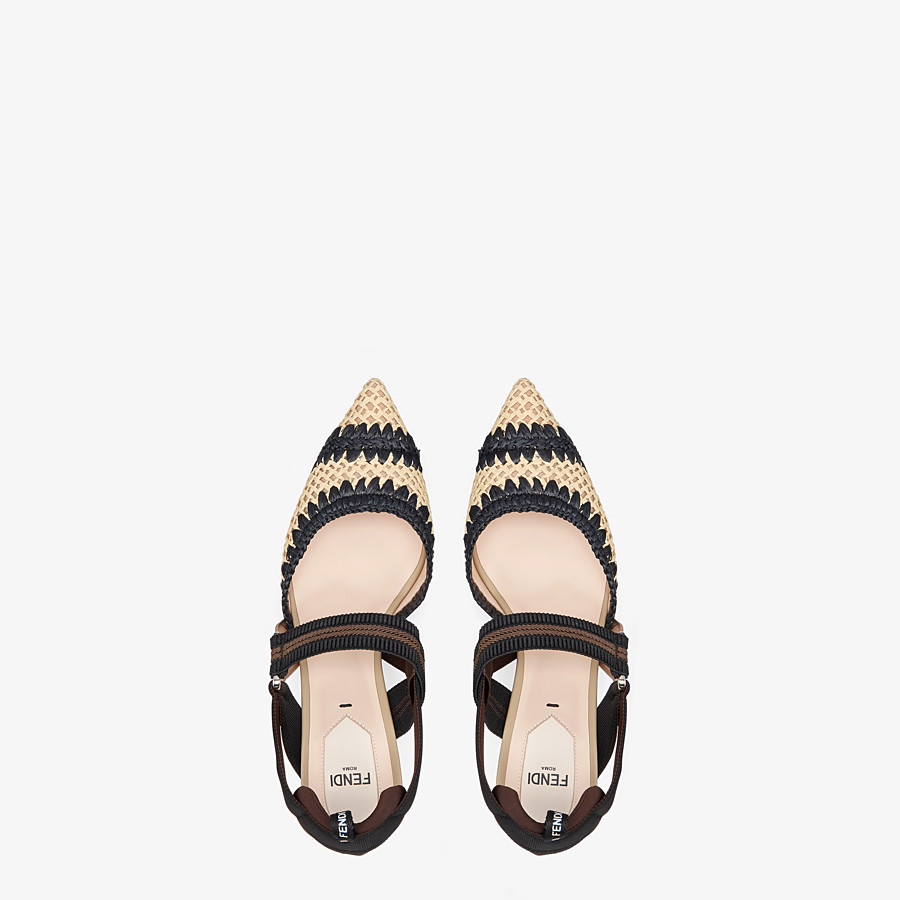 FENDI SLINGBACKS - Black raffia Colibrì slingbacks - view 4 detail