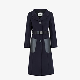 FENDI OVERCOAT - Blue cashmere overcoat - view 1 thumbnail