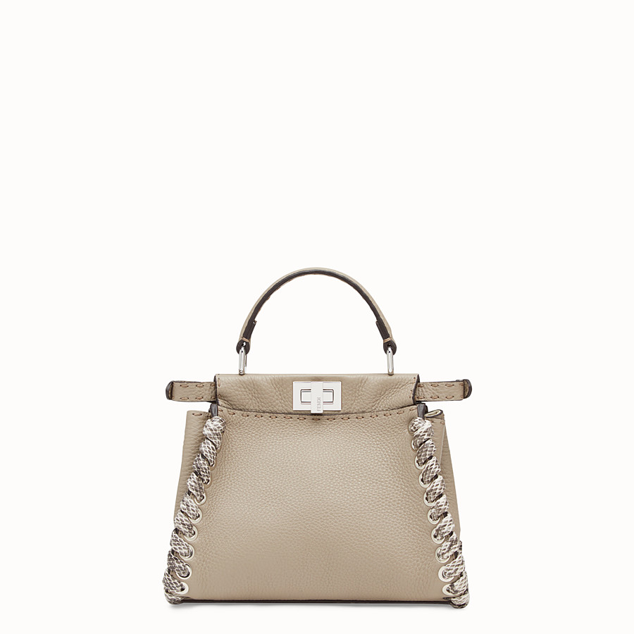 FENDI PEEKABOO MINI - Beige leather bag with exotic details - view 3 detail