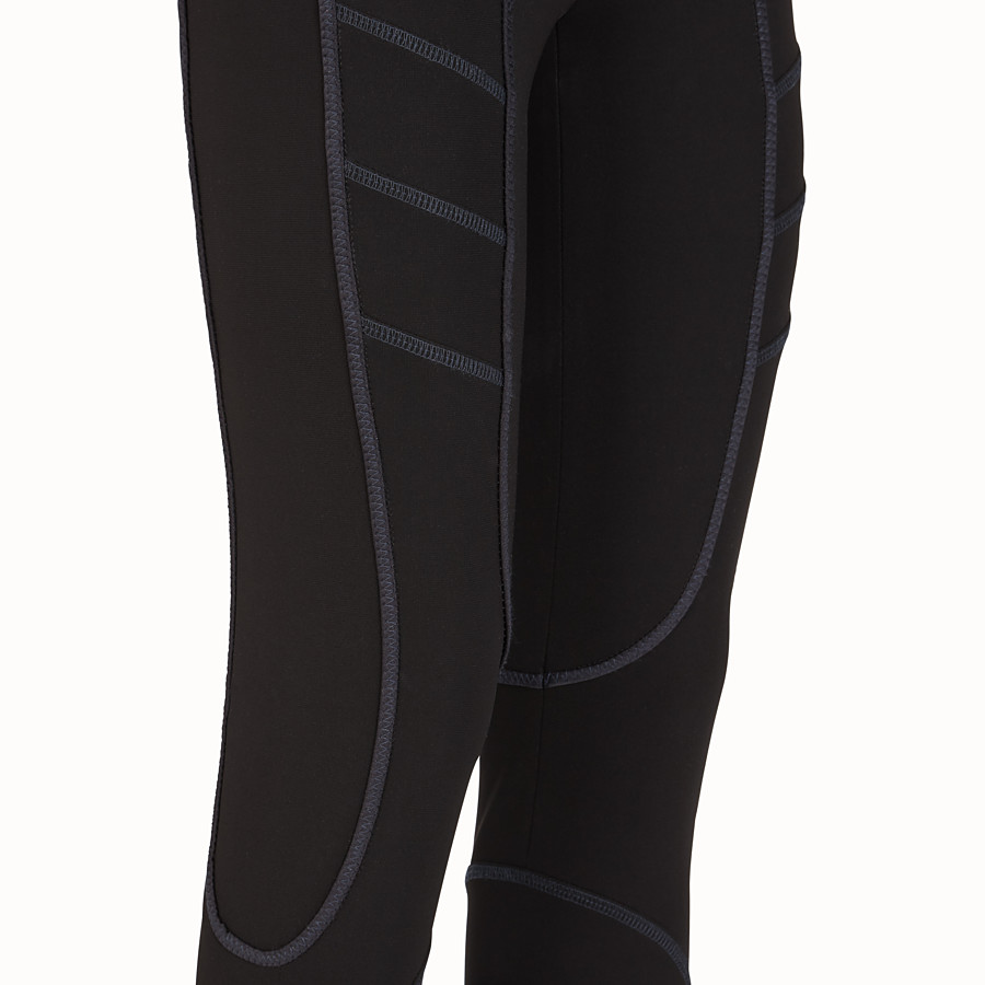 FENDI TROUSERS - Black tech fabric leggings - view 3 detail