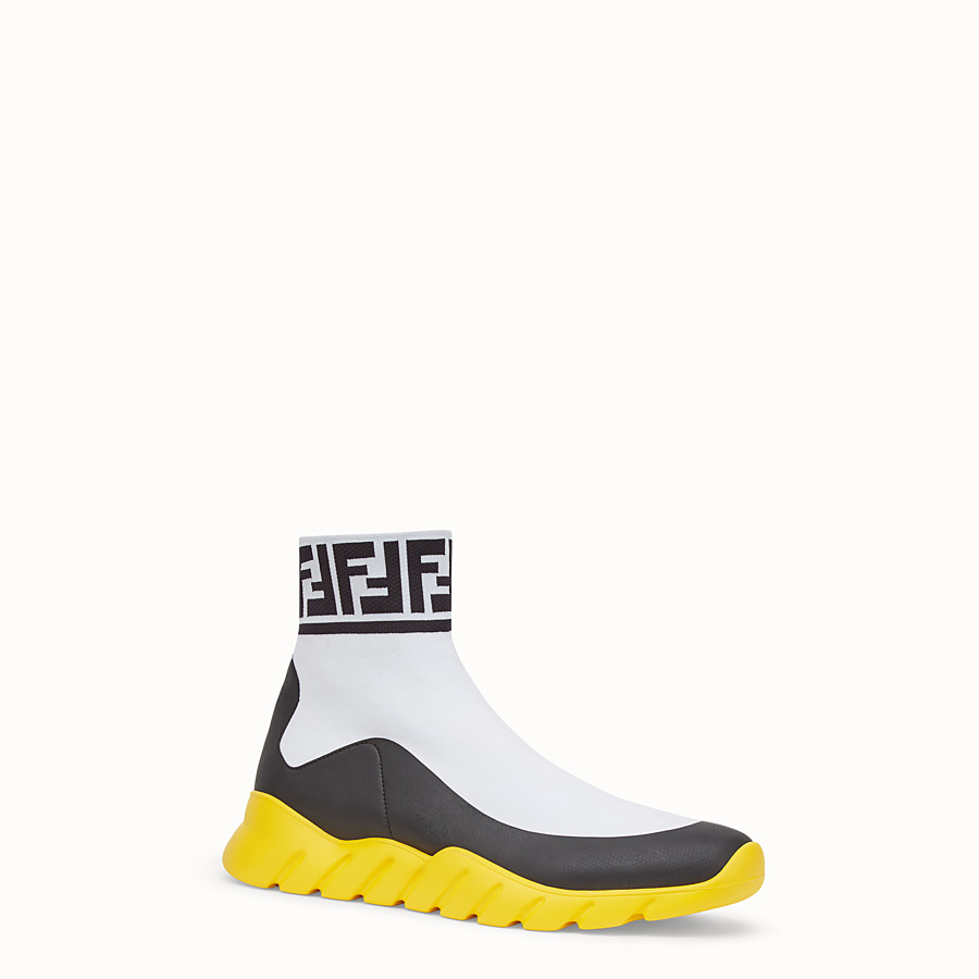 FENDI SNEAKERS - White tech fabric high-tops - view 2 detail
