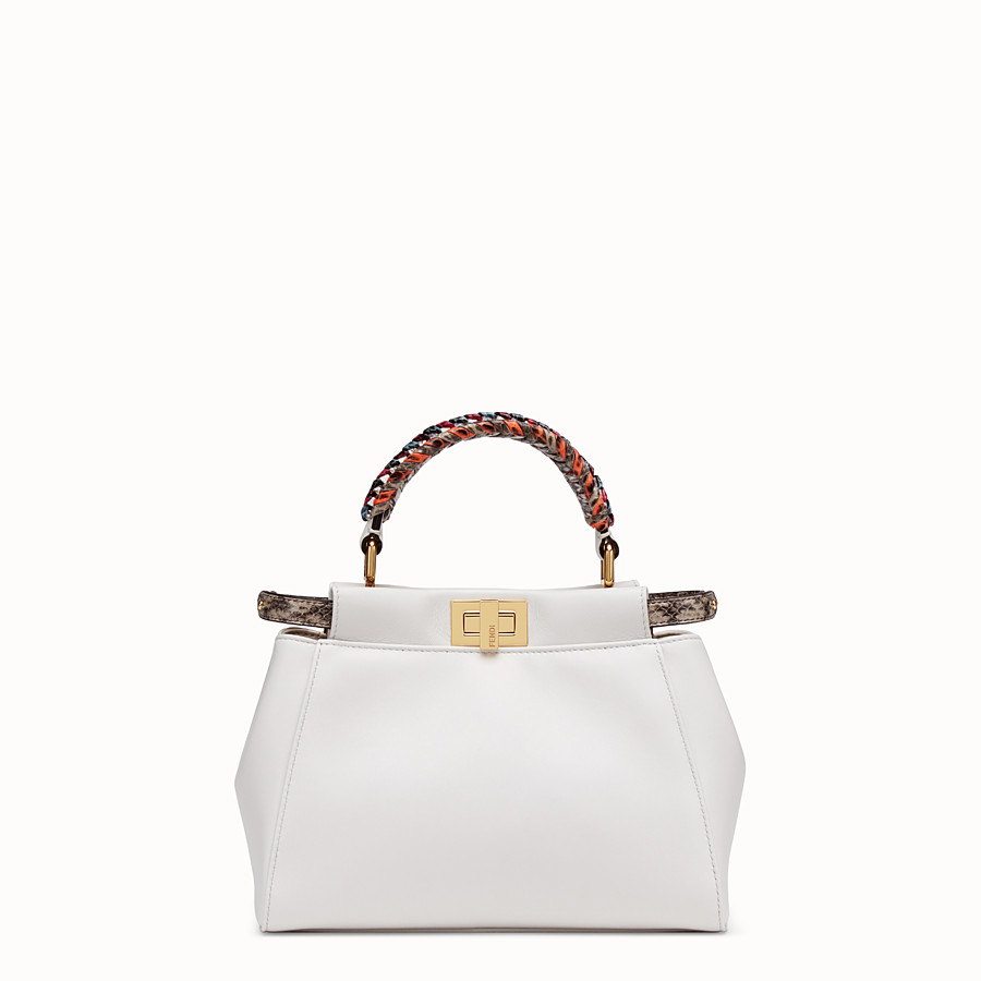 FENDI PEEKABOO MINI - White leather bag with exotic details - view 1 detail