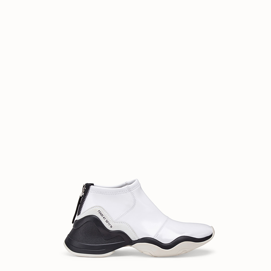 FENDI SNEAKERS - Glossy white neoprene sneakers - view 1 detail