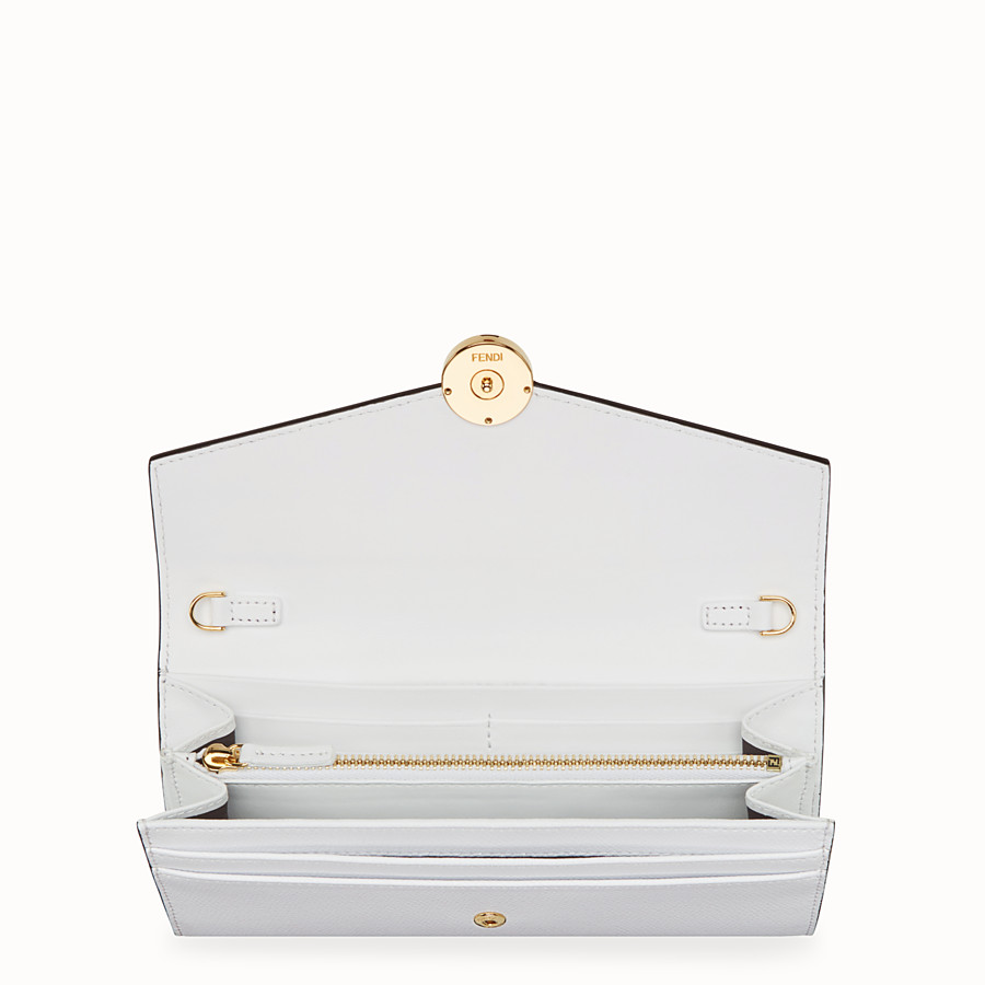 FENDI CONTINENTAL WITH CHAIN - White leather wallet - view 4 detail