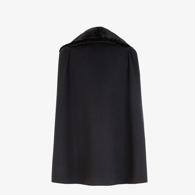FENDI CAPE - Black wool and silk cape - view 2 detail