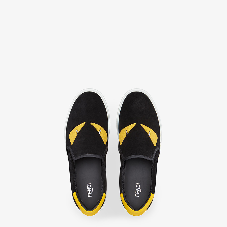 FENDI SNEAKERS - Slip-on in black leather - view 4 detail