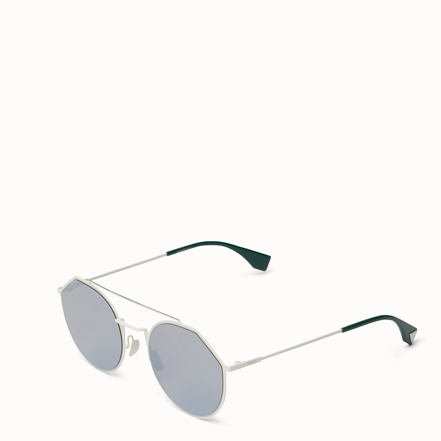 FENDI EYELINE - 白色及綠色太陽眼鏡 - view 2 detail