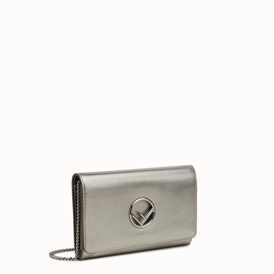 FENDI WALLET ON CHAIN - Grey leather mini-bag - view 2 detail