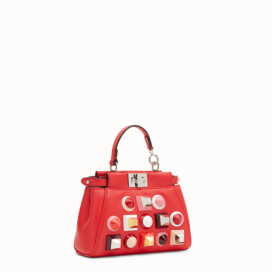 FENDI MICRO PEEKABOO - Microbag in red leather with studs - view 2 detail