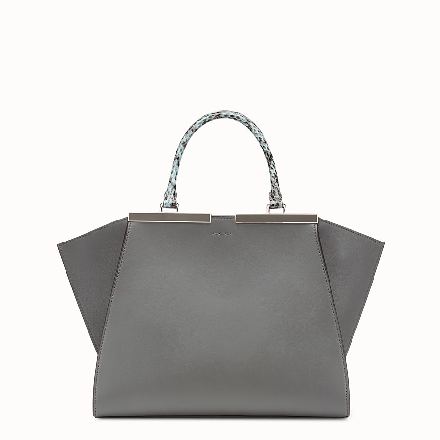 FENDI 3JOURS - Grey leather bag with exotic details - view 3 detail