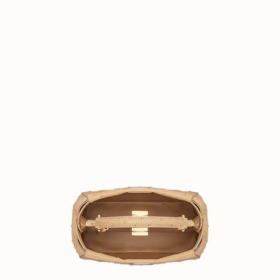 FENDI PEEKABOO MINI - Brown ostrich bag - view 4 detail