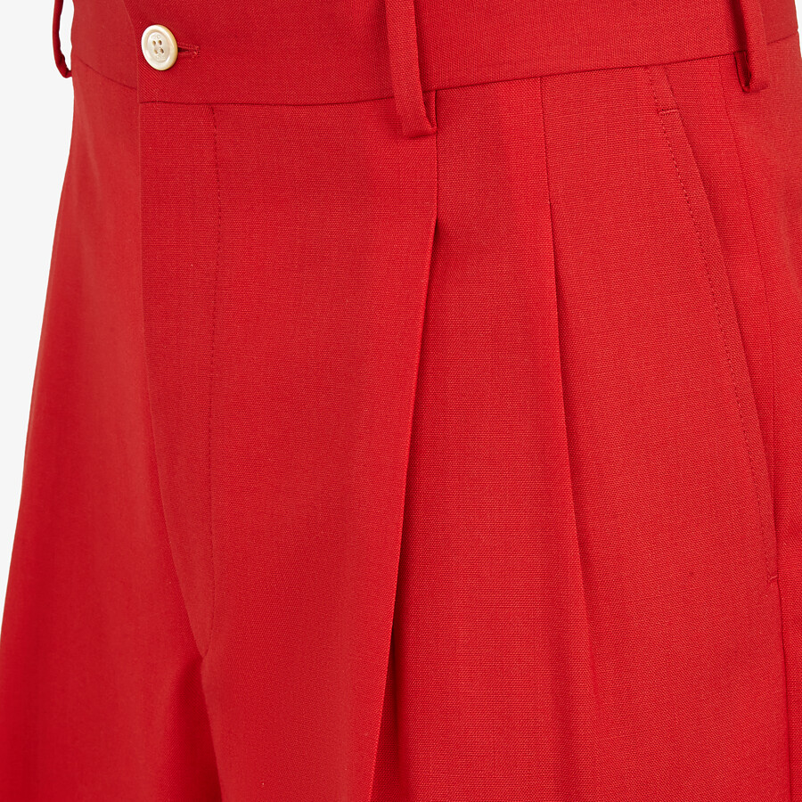 FENDI BERMUDAS - Red wool pants - view 3 detail
