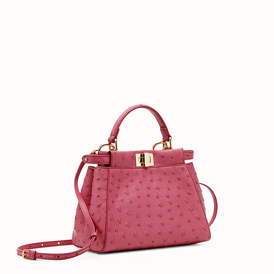 FENDI PEEKABOO ICONIC MINI - Red ostrich leather handbag. - view 2 detail