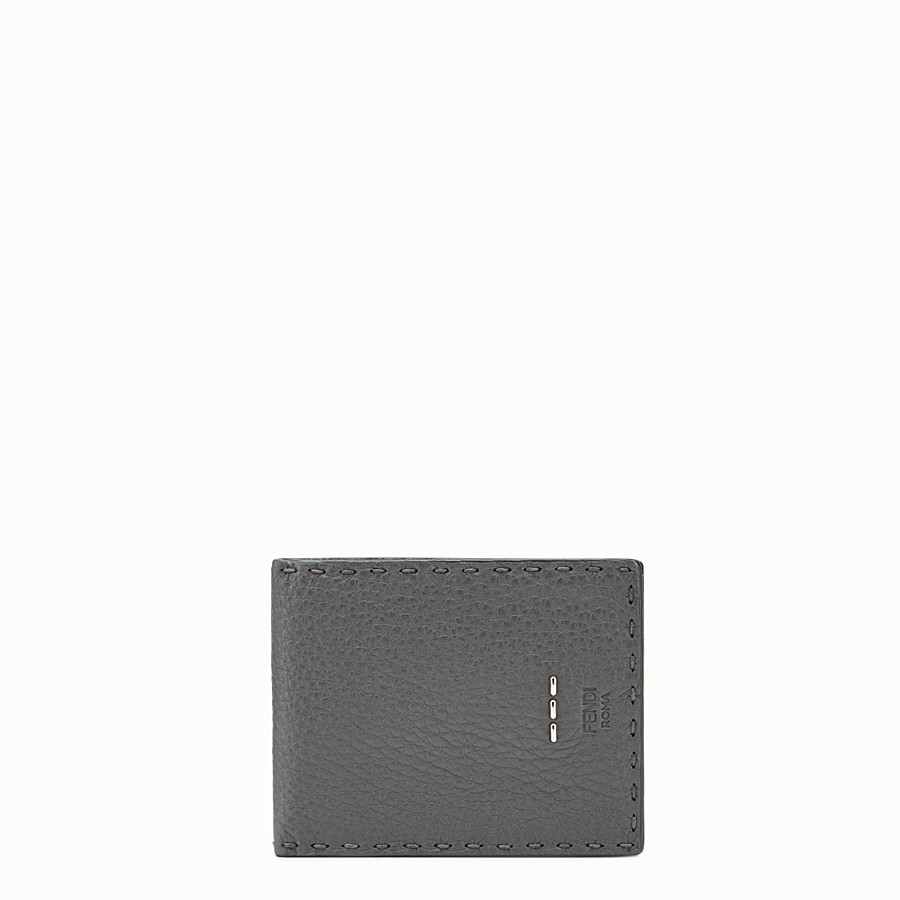FENDI WALLET - Light grey leather bi-fold Selleria wallet - view 1 detail