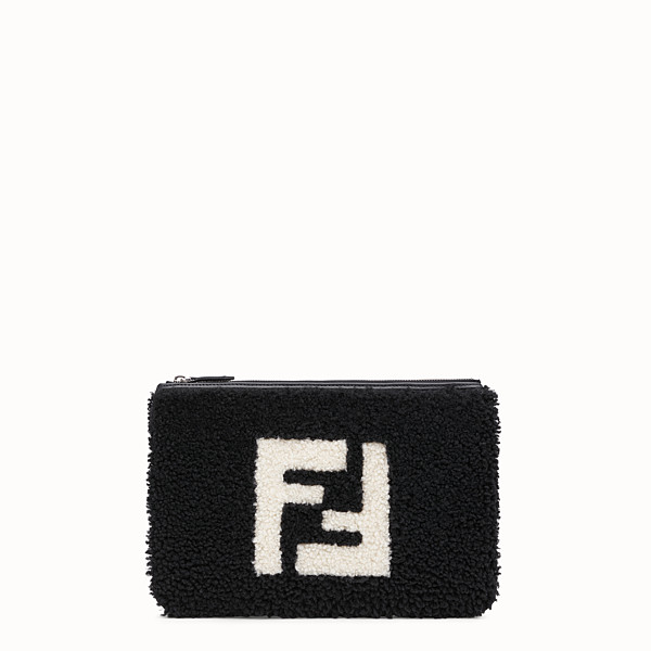FENDI POUCH - Black shearling slim pouch - view 1 small thumbnail