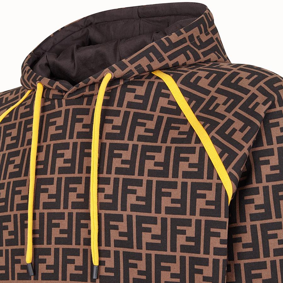 FENDI FELPA - Felpa in cotone marrone - vista 3 dettaglio
