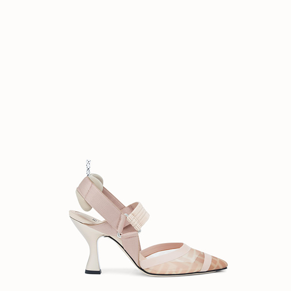 FENDI SLINGBACK - Colibrì in pink mesh and nude leather - view 1 small thumbnail