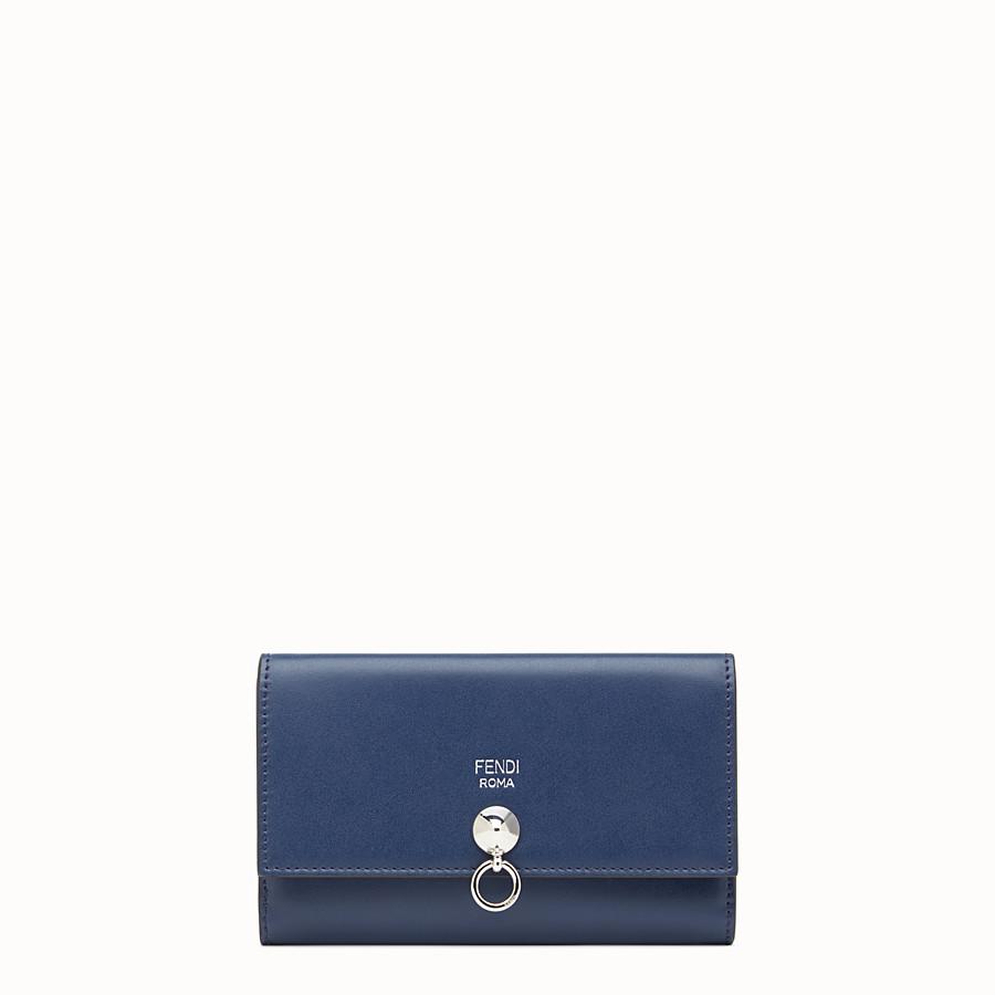 FENDI 지갑 - 미드나잇 블루 컬러의 슬림형 가죽 장지갑 - view 1 detail