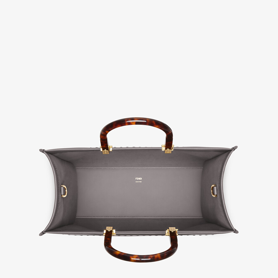 FENDI FENDI SUNSHINE MEDIUM - gray leather shopper - view 4 detail