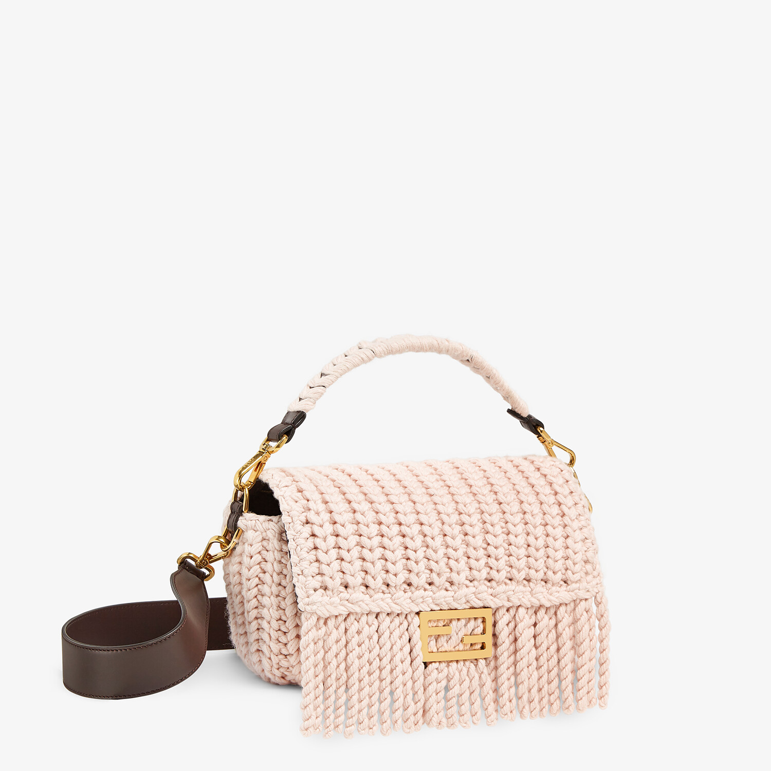 FENDI BAGUETTE - Pink wool bag with fringes - view 3 detail