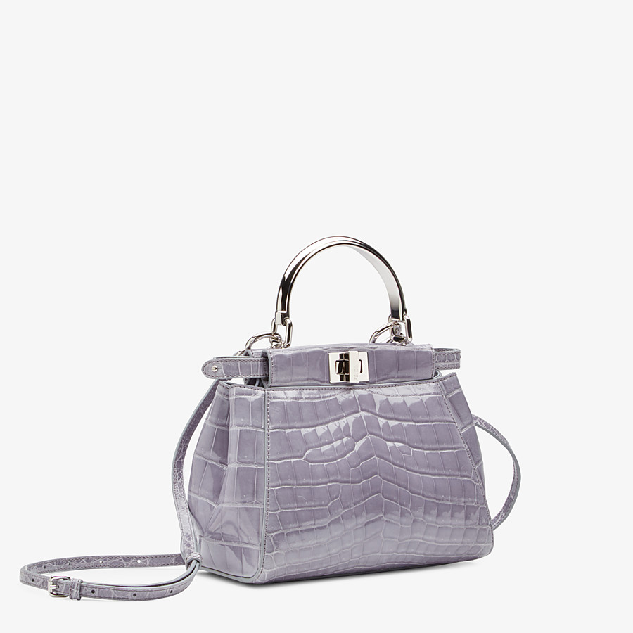 FENDI PEEKABOO ICONIC MINI - Gray crocodile bag - view 2 detail