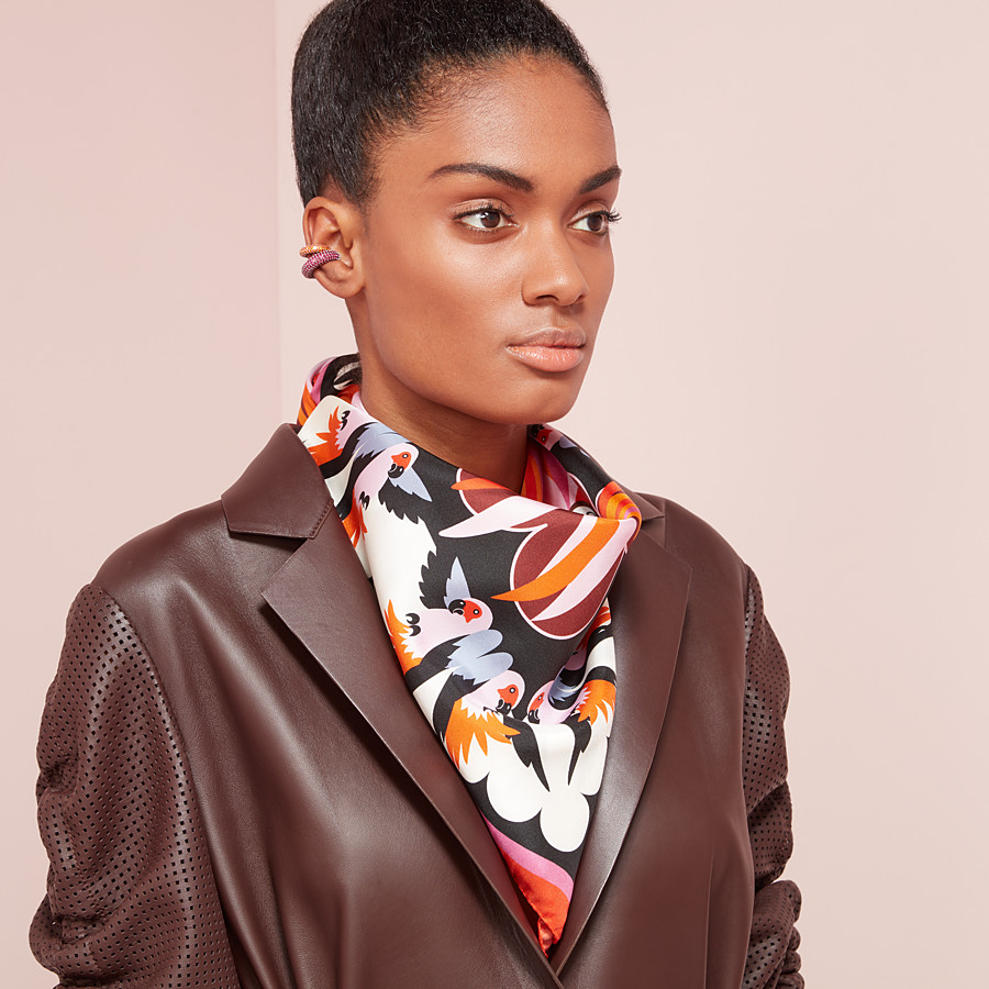 FENDI PARAKEET FOULARD - Orange silk foulard - view 3 detail