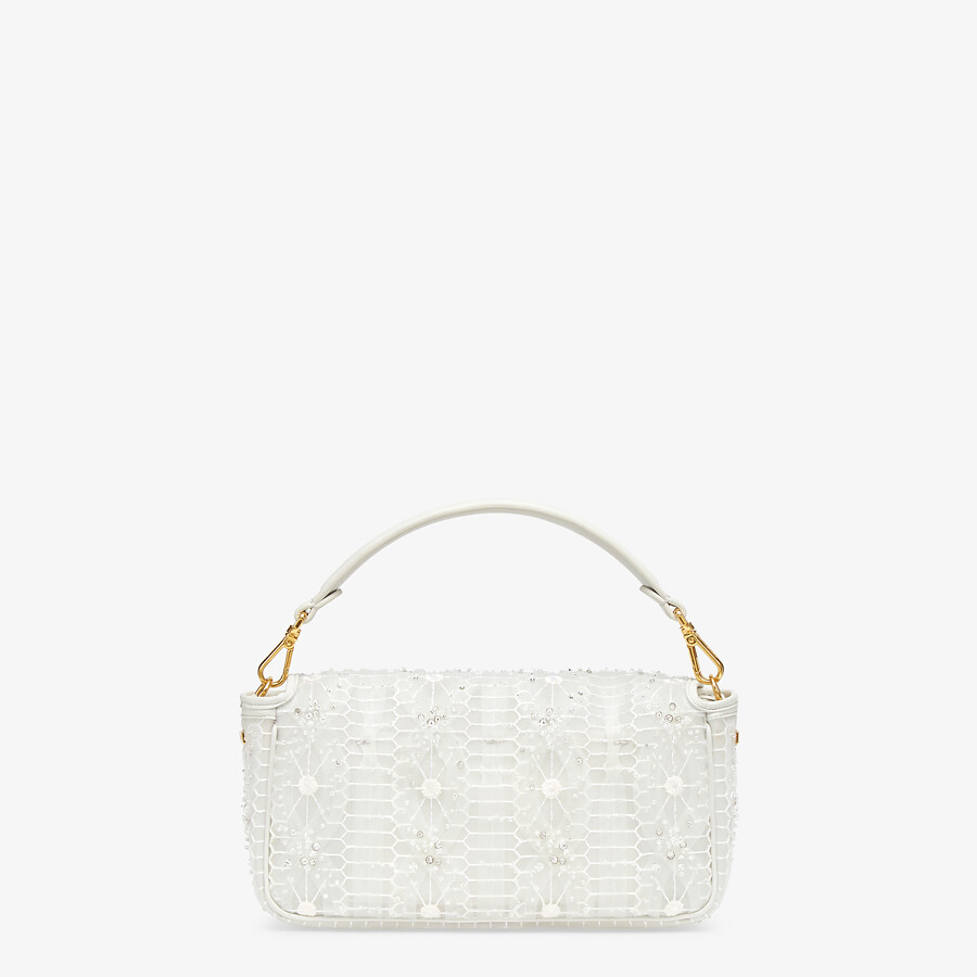 FENDI BAGUETTE - Embroidered white tulle bag - view 3 detail
