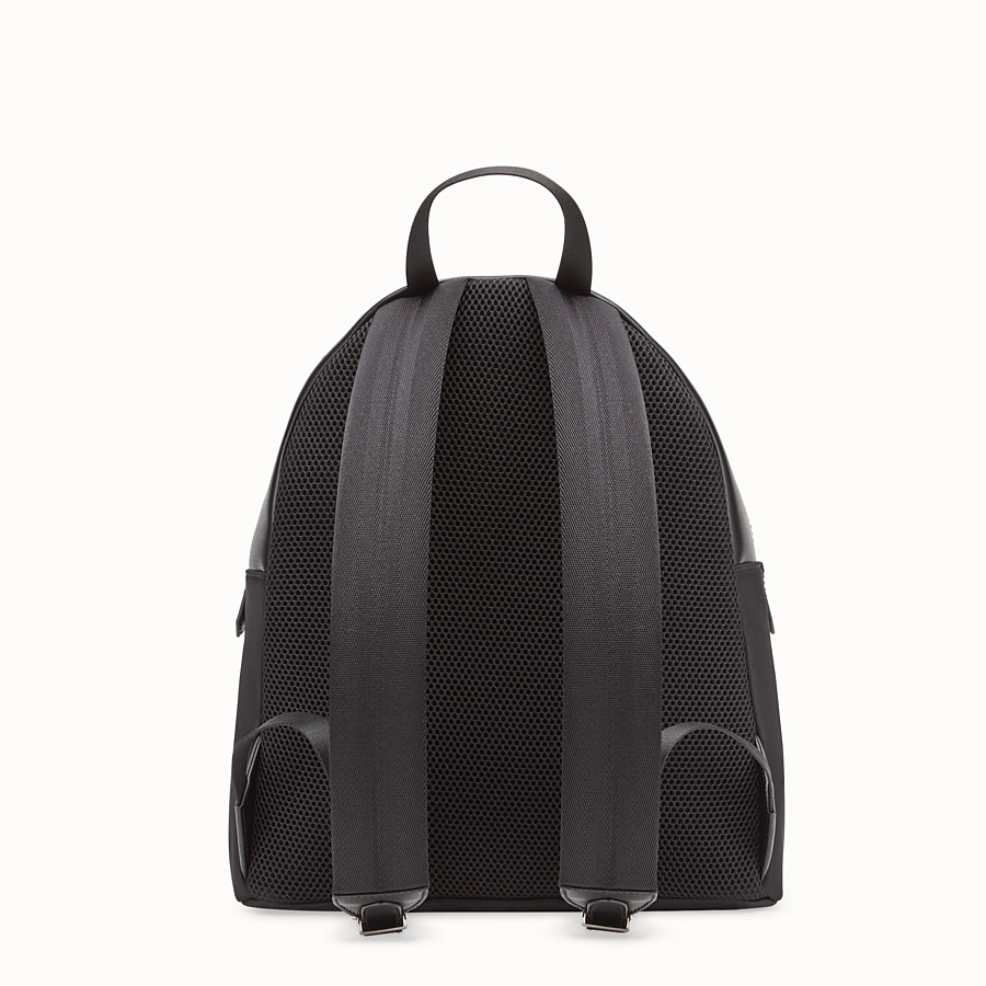 FENDI BACKPACK - Black fabric and leather backpack - view 3 detail