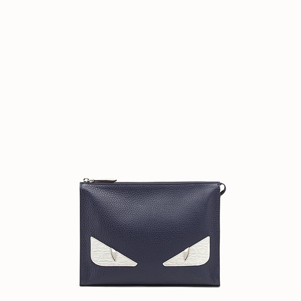 FENDI CLUTCH - Blue leather pochette - view 1 small thumbnail