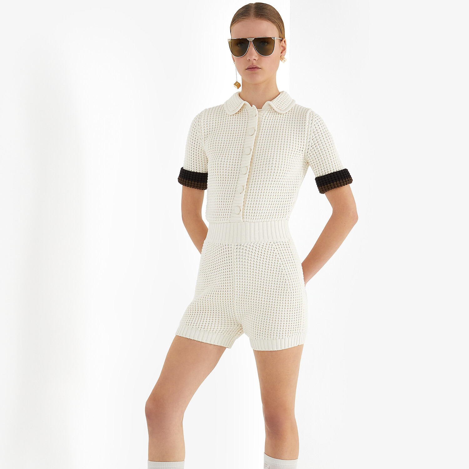 FENDI JUMPSUIT - White cotton jumpsuit - view 4 detail