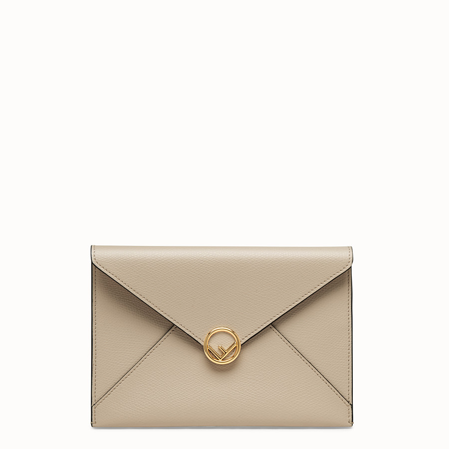 FENDI MEDIUM FLAT POUCH - Beige leather pouch - view 1 detail