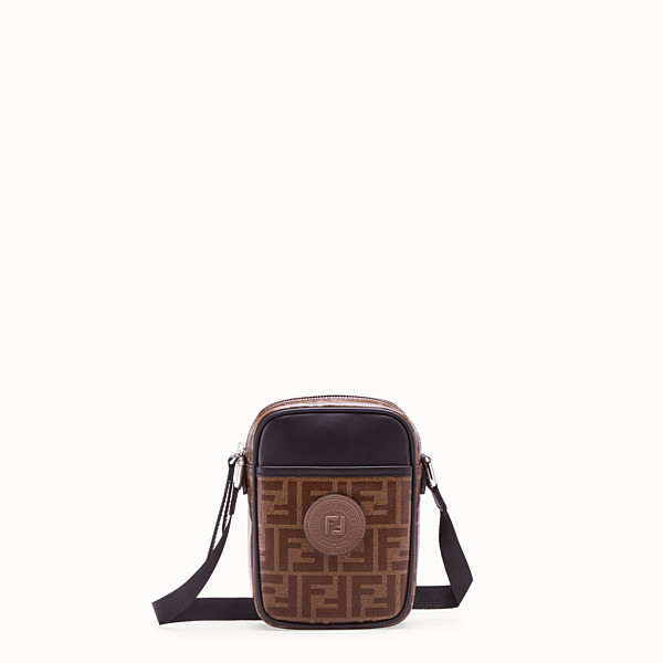 FENDI SMALL MESSENGER - Brown fabric cross-body - view 1 small thumbnail