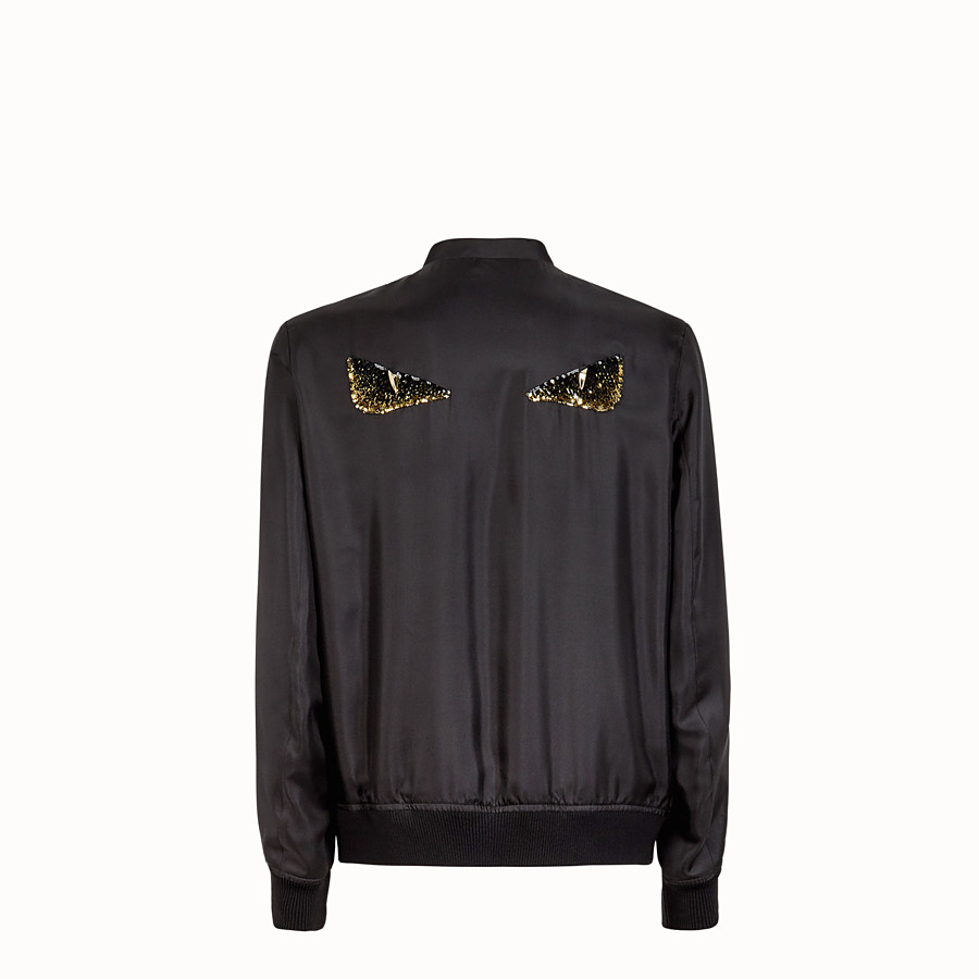 FENDI BOMBER - Black silk bomber jacket - view 2 detail