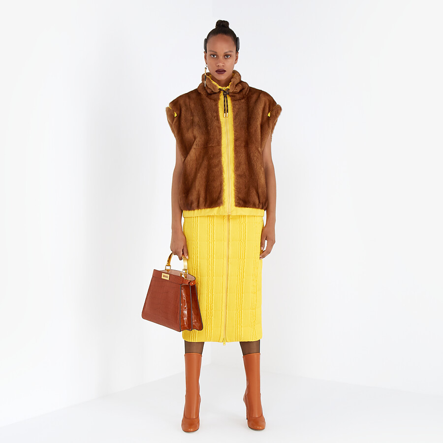 FENDI VEST - Mink and yellow nylon gilet - view 7 detail