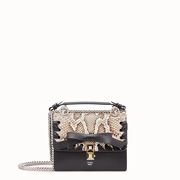 FENDI KAN I SMALL - Black leather mini-bag with exotic details - view 1 small thumbnail