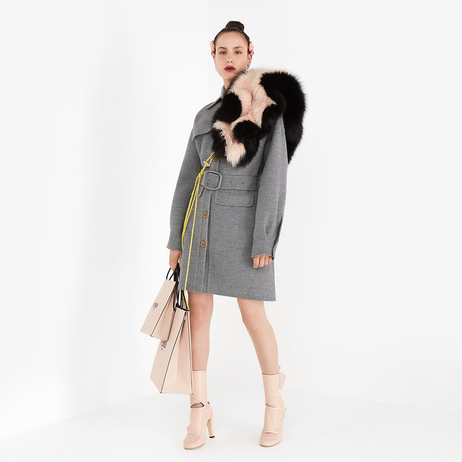 FENDI OVERCOAT - Gray wool trench coat - view 6 detail