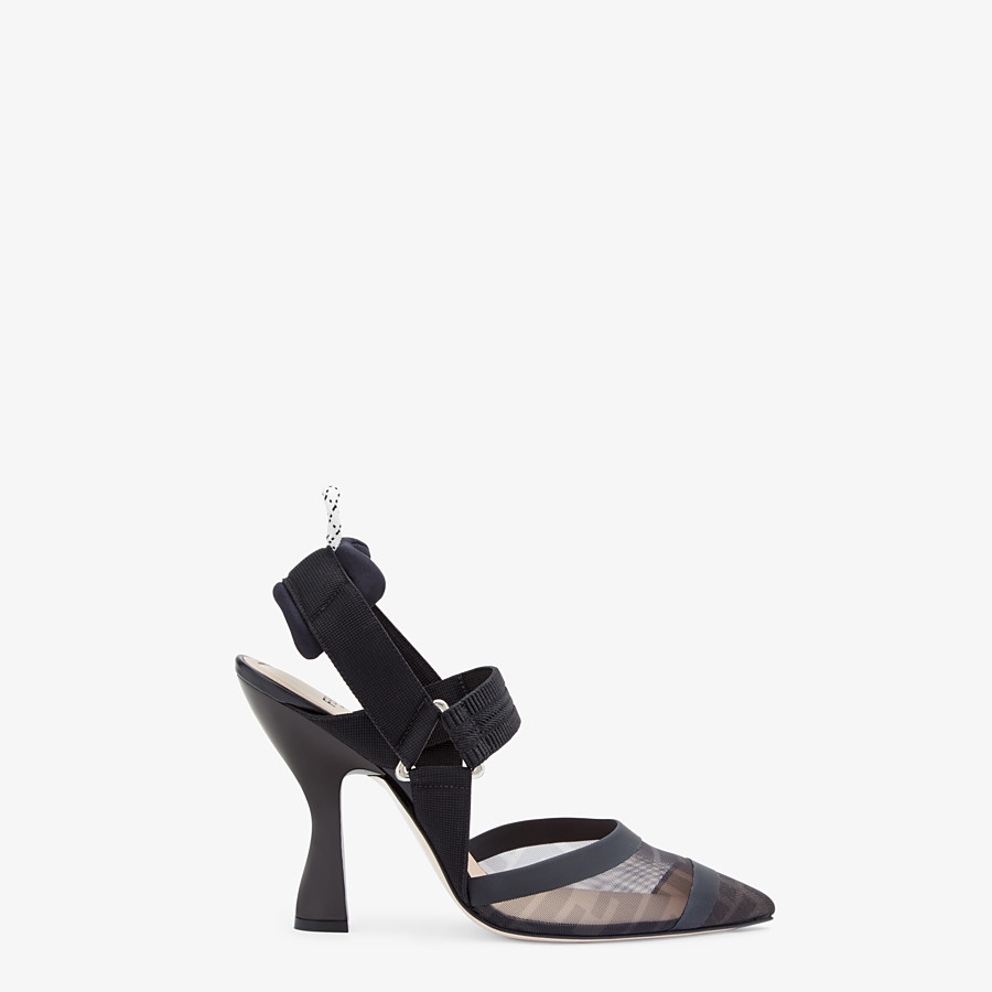 FENDI SLINGBACKS - Colibrì in mesh and black leather - view 1 detail
