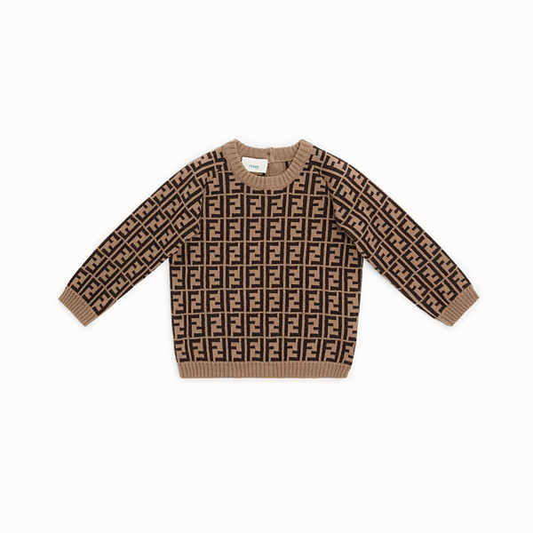 FENDI CREW NECK - Tobacco cotton and cashmere baby jumper - view 1 small thumbnail