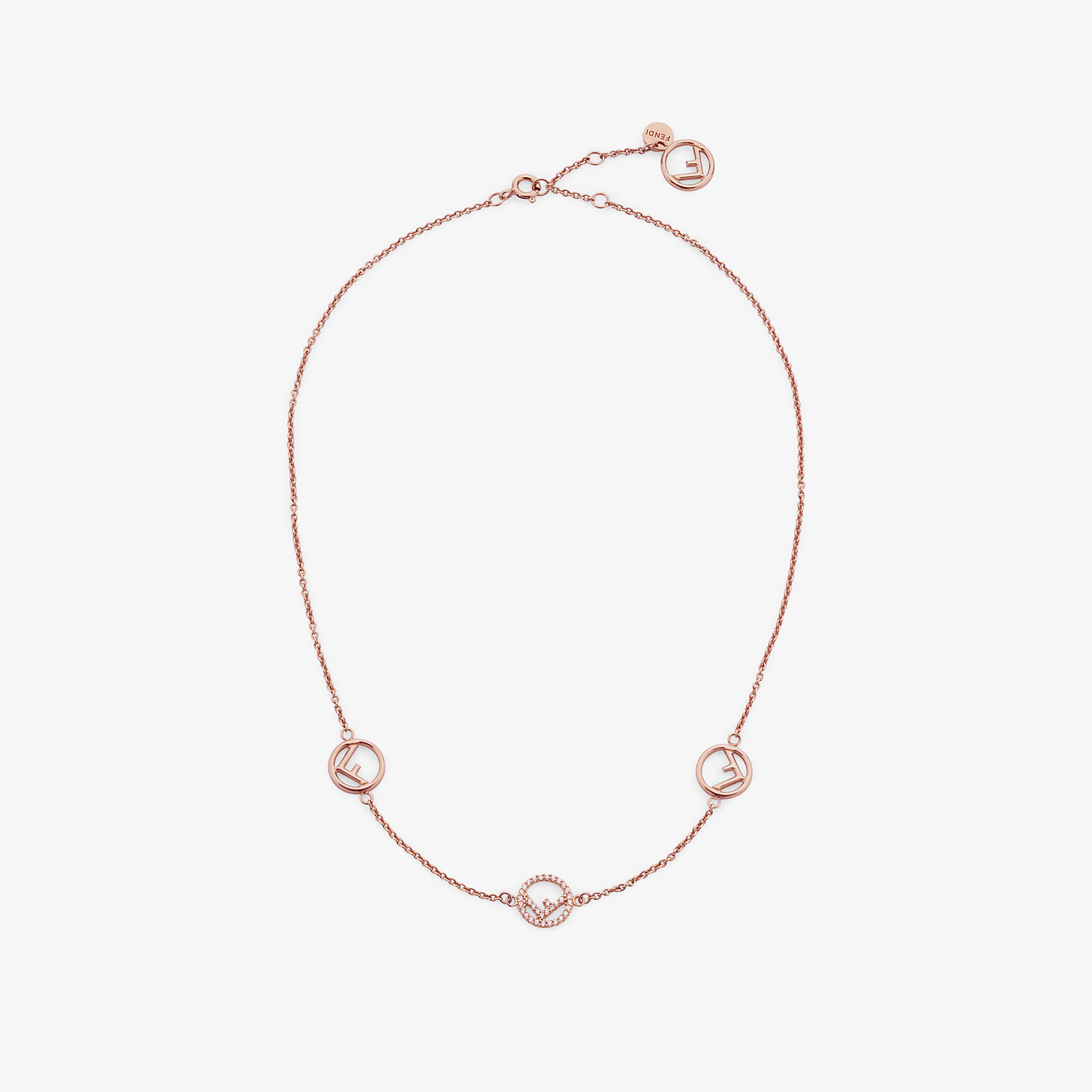 FENDI F IS FENDI NECKLACE - Rose-gold necklace - view 1 detail