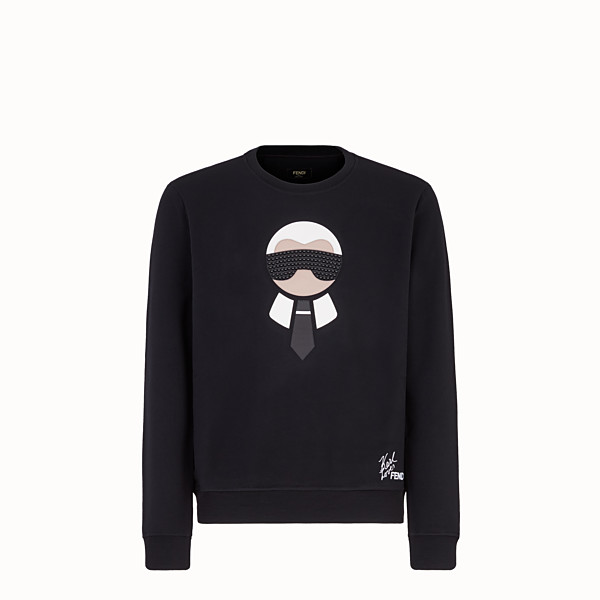 FENDI PULLOVER - Black jersey sweatshirt - view 1 small thumbnail