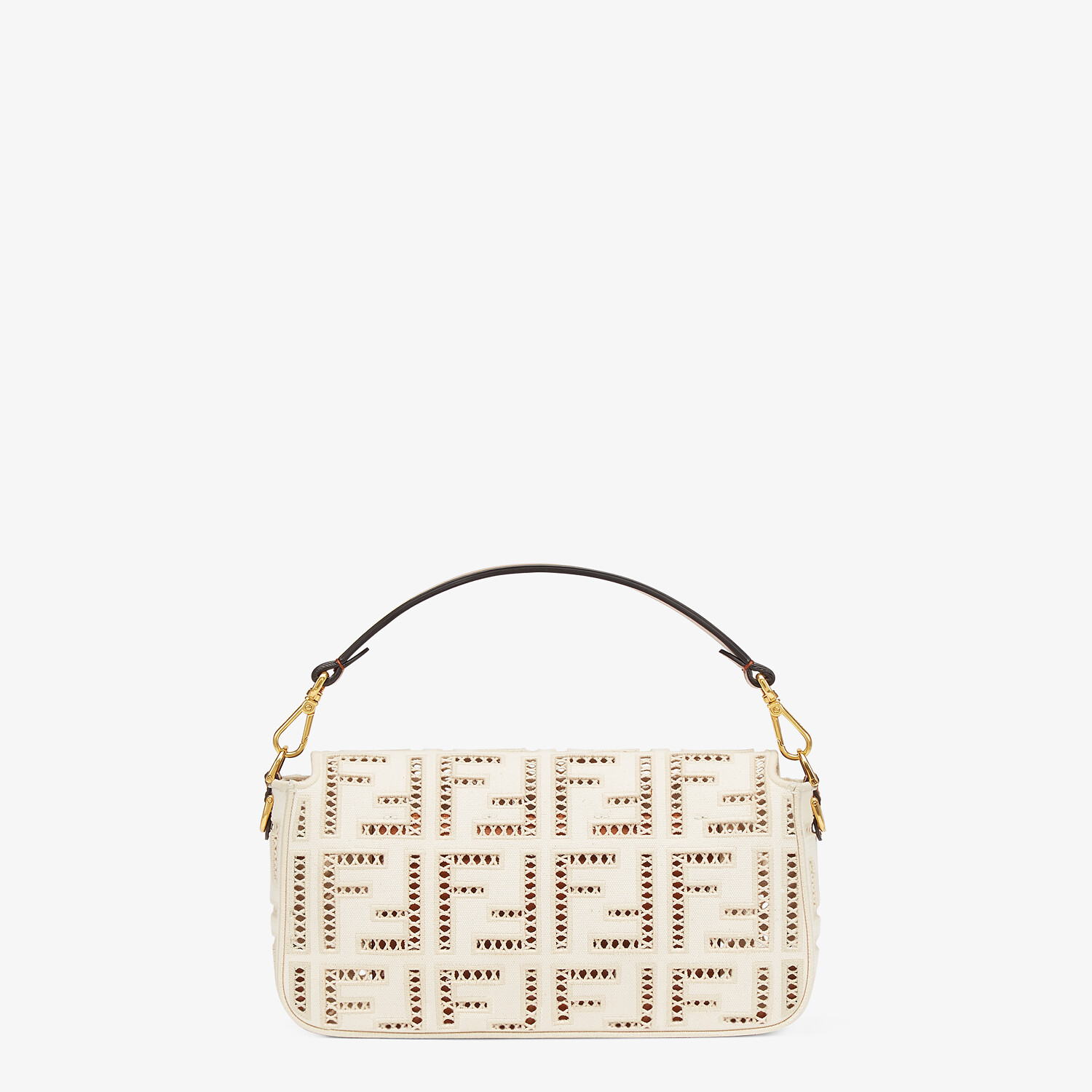 FENDI BAGUETTE - White canvas bag with embroidery - view 4 detail