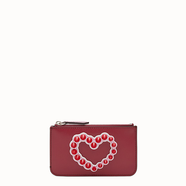 FENDI KEYRING POUCH - Red leather pouch - view 1 small thumbnail