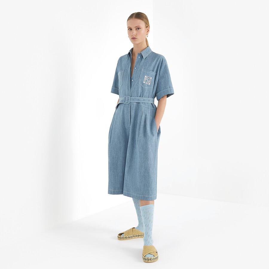 FENDI JUMPSUIT - Light blue chambray jumpsuit - view 4 detail