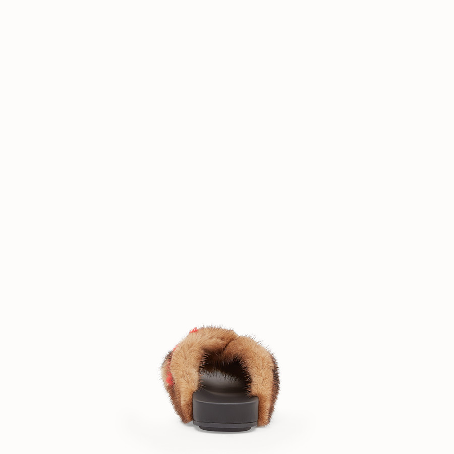 FENDI SANDALS - Multicolour fur slides - view 3 detail